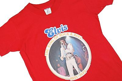 Youth Womens L VTG 70s Elvis T Shirt Concert Tour KING OF ROCK N ROLL 1977 Red