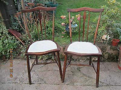 1920's art nouveau rose wood tulip back small dainty chairs