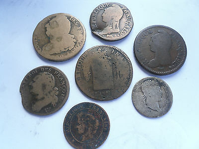France, Group of Low Grade 1700/1800's Coins as shown.