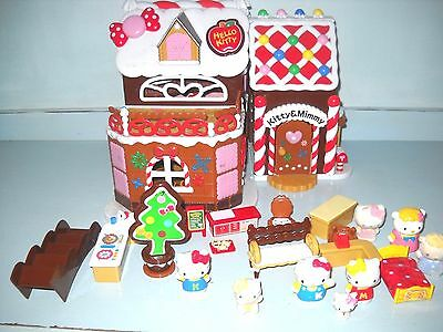 Hello Kitty & Miffy Christmas Ginger Bread House with furnature & 8 Kittys