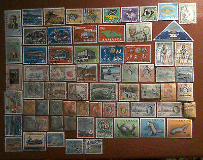 68 x JAMAICA STAMPS - USED / UNUSED HINGE MARKS ON REAR - ALL DIFFERENT