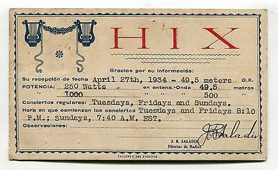 Dominican Republic - Radio HIX - QSL card postcard sent in 1934 to England