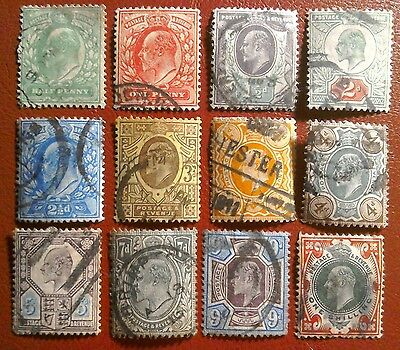 12 x KING EDWARD VII STAMPS  - USED WITH SIGNS OF HINGE MARKS ON REAR .5d to 1/-