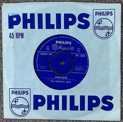 """The Brothers Four 7"""" Single 'Greenfields'/'East Virginia' (Philips)"""