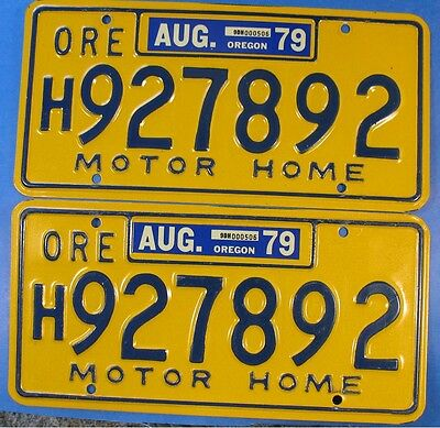 1979 Oregon Motor Home License Plate H927892 Pair                         Ul3109