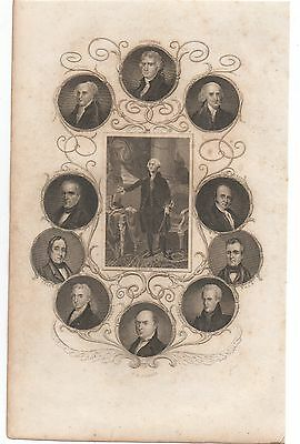 1850s Book Plate showing insets 11 US Presidents