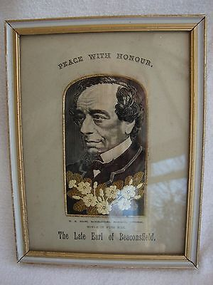 The Late Earl Of Beaconsfield Woven Silk Portrait W.h.grant Framed Under Glass