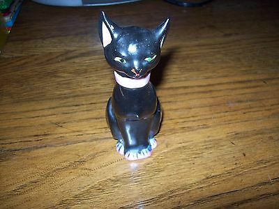 black pink cat perfume bottle cork on removable head Trico china Japan  vtg
