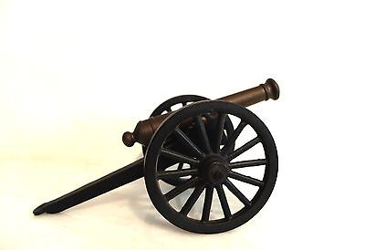 Vintage Solid Bronze Signal Cannon Civil War Type w/ Cast Iron Carriage
