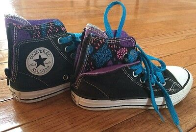 Converse All Star Girls Youth Size 12 Black Zipper Sneakers Purple Blue Splatter
