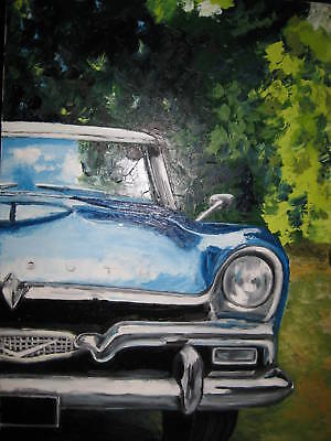 "ART AUTOMOBILE ""Plymouth"" TABLEAU Huile 92x73 cm - Oil Painting mariemagdeleines"