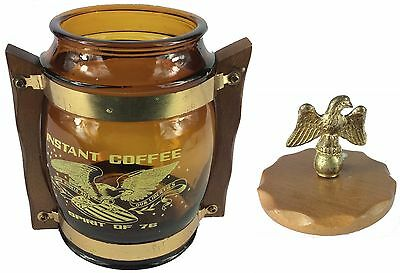 Hilarious Bicentennial Amber Glass Wooden Handles Spirit of 76 Instant Coffee!!