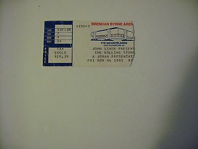 11/6 81 Rolling Stones Concert Ticket Stub At The Meadowlands