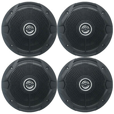 "4 X 6.5"" 2 Way Marine Boat Speaker System Black 150W Max Power KFC1653MRB 2 Pair"