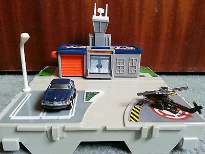 Micro Machines By Galoob Circa 1989 Airport Helicopter Blue BMW Car Toy Play Set