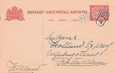 Netherlands Indies to Holland POGADJIN Boxed Cancel 5c Post Card Stny c1900