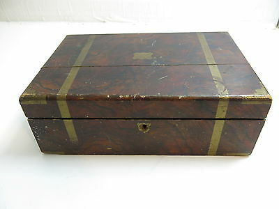 Antique Civil War Era Rosewood Lap / Writing Desk With Inkwell Nicely Decorated