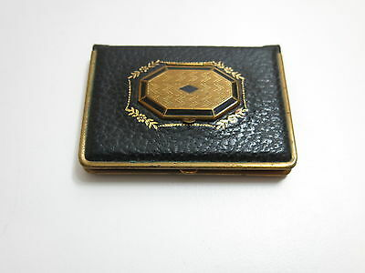 Vintage Art Deco Mondaine Ladies Compact With Black And Gold Filled Dual Opening