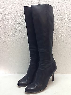 #2 Jimmy Choo Grand Black Leather Zipper Almond Toe Tall Boots Women's Size 38 M