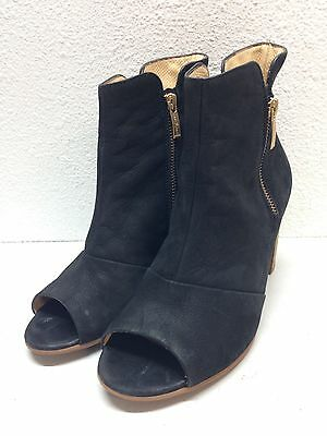 Paul Green Bellini Black Nubuck Leather Peep Toe Bootie Women's Size 6 UK 8.5 US