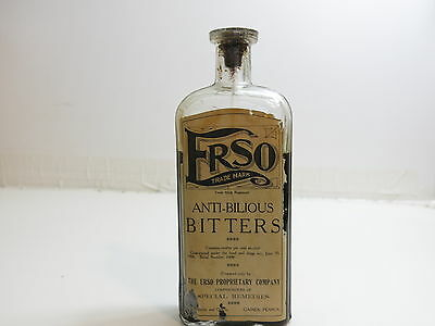 Antique 1906 Frso Anti-Bilious Bitters Bottle With Paper Label