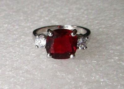 Estate Vintage Ruby Red Costume Jewelry Ring