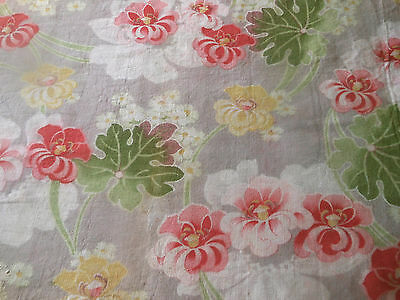 Antique French Art Nouveau Floral Cotton Fabric ~ Yellow Pink Green ~Aged Cutter
