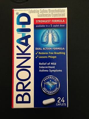 Bronkaid 24 Caplets ASTHMA Symptoms Relief Dual  Tablets Action Formula exp 8/18