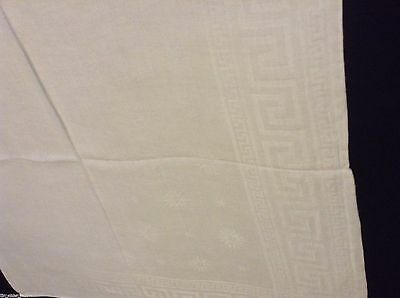 2 VTG DOUBLE DAMASK IRISH LINEN NAPKINS Greek Key & Starburst 26x24.5 in white