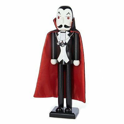 Dracula with Bat Necklace and Cape Wooden 15 Inch Halloween Nutcracker