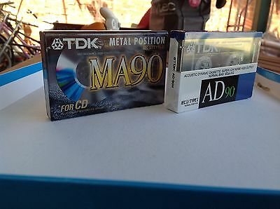 2 X TDK Cassette Tapes MA90 & AD90, Brand New & Factory Sealed