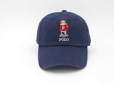 Polo Style Unisex Sport Baseball Cap Adjustable Cotton Hat With Bear Logo