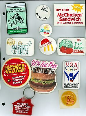 10 Vintage 1970s-80s McDonalds Advertising Pinback Buttons & 1 Key Tag