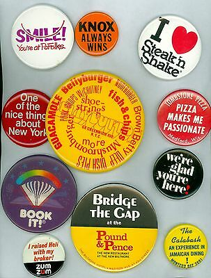 11 Vintage 1980s-90s New York City Restaurant Ad Pinback Buttons - Pound & Pence
