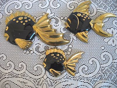 Vintage Set of 3 Black and Gold Fish Family wall plaques.. Norcrest