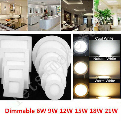 6W-21W LED Recessed Ceiling Panel Down Light Bulb Warm/Cool White Lamp For Home