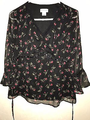 womens black MATERNITY TOP SHIRT size small MOTHERHOOD red roses WORK WEAR NICE
