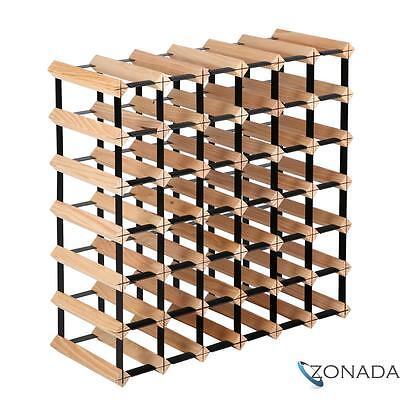 NEW Timber  Wine Rack 42 Bottles Wooden Storage Organiser Stand