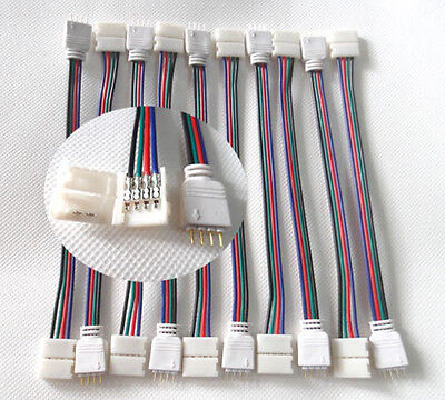 20PCS No Need Solder 4PIN LED Connector Wire for 12mm 3528 5050 RGB Strip Light