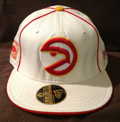 huge selection of 2c016 85e4b Atlanta Hawks NEW ERA 59FIFTY Fitted Hat NBA Hardwood Classics White Size 7  1 8