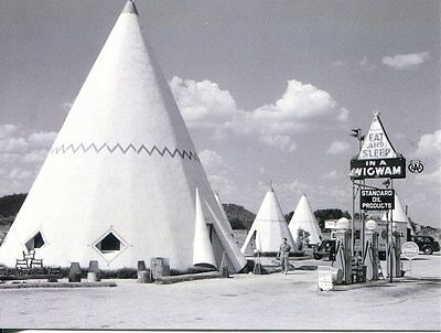 Post Card Of Old Route 66 Wigwam Motel And Gas Station From 1930's