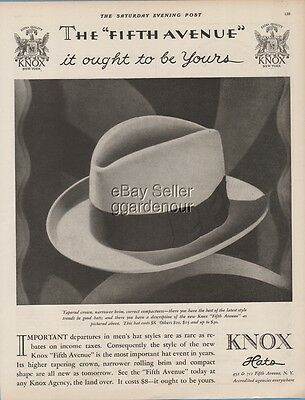 1928 Knox Hats Fifth Avenue Men's Fedora Vintage Fashion 1920's Style print ad