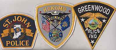 St John, Greenwood & Kokomo Indiana Police patches