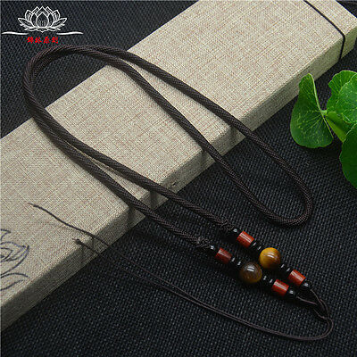 Natural Wood Tiger's eye JADE beads Circle string cord rope for pendant A234