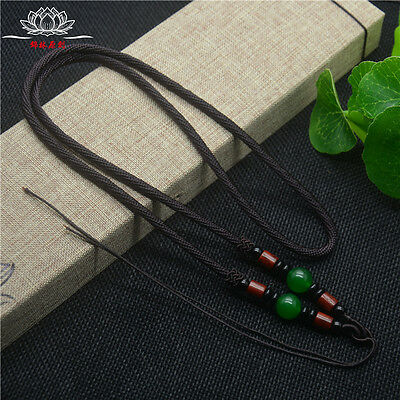 Natural Wood Green agate JADE beads Circle string cord rope for pendant A232