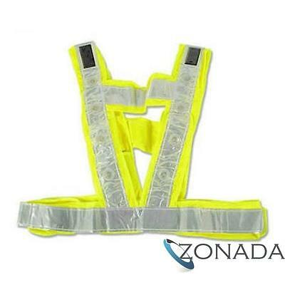 Solar LED Vest Night Cycling Running Safety High Visibility Reflective Jacket