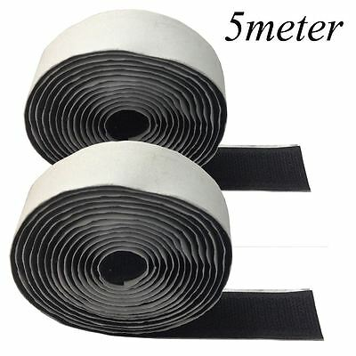 5M BLACK Self Adhesive Sticky Backed Hook and Loop Tape Strip Sew On Stich UK