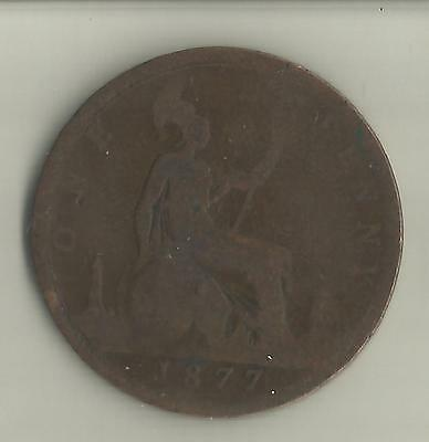 GB 1877 QUEEN VICTORIA 1d ONE PENNY COIN.
