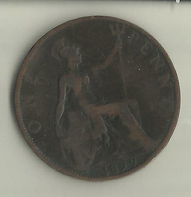 GB 1899 QUEEN VICTORIA 1d ONE PENNY COIN (No 3).