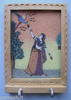 Persian Woman Peacock Feeding Wall Frame Key Holder Sand Painting Tourist Souven
